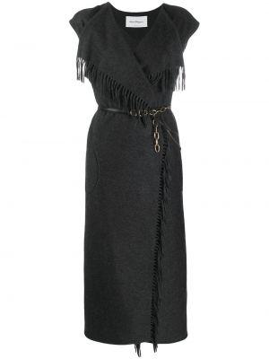 Черное платье мини с бахромой на молнии с короткими рукавами Salvatore Ferragamo