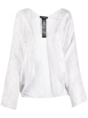 Biały z rękawami długa kurtka z haftem Emporio Armani