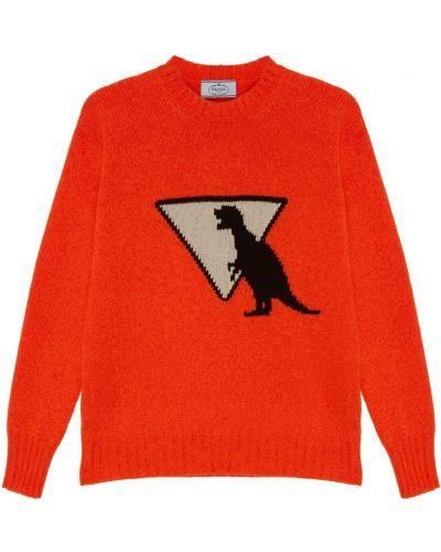Вязаный свитер в рубчик кашемировый Prada