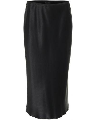 Сатиновая черная юбка миди Joseph