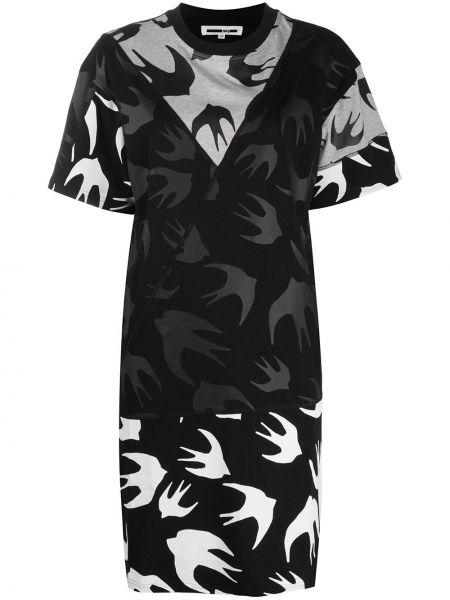 Хлопковое с рукавами черное платье макси Mcq Alexander Mcqueen