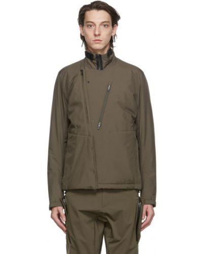 Ciepła czarna długa kurtka z nylonu Acronym