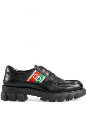 Półbuty skórzane - czarne Gucci