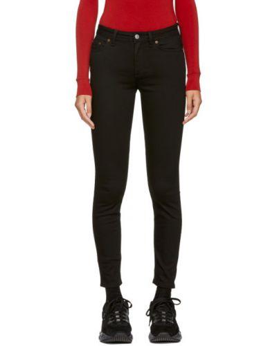 Zawężony czarny obcisłe dżinsy z kieszeniami z łatami Acne Studios