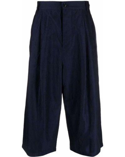 Niebieskie spodnie z wysokim stanem bawełniane Giorgio Armani