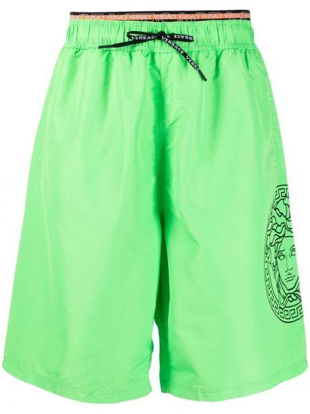 С кулиской зеленые шорты для плаванья Versace