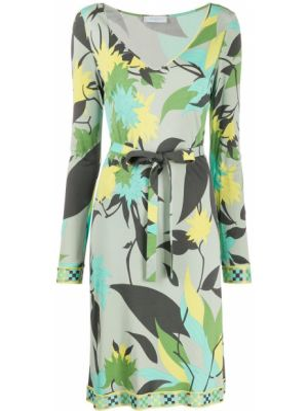 Платье макси с длинными рукавами с V-образным вырезом на молнии из вискозы Emilio Pucci Pre-owned