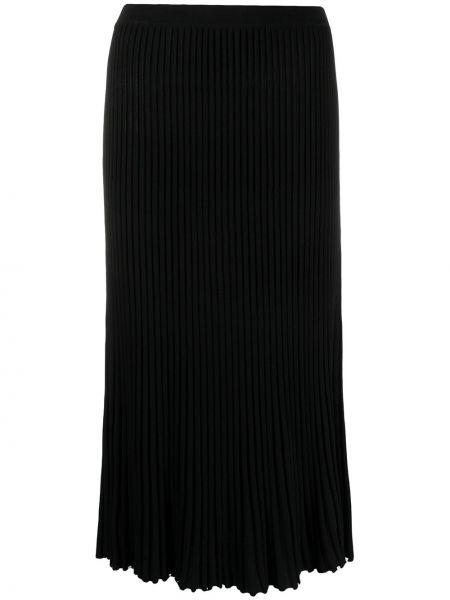 Черная юбка миди с поясом в рубчик Christian Wijnants