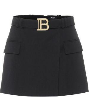 Плиссированная шерстяная черная юбка мини Balmain