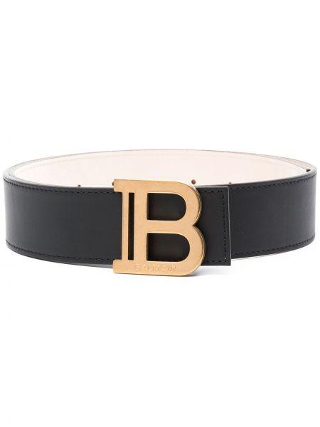 Золотистый черный кожаный ремень Balmain