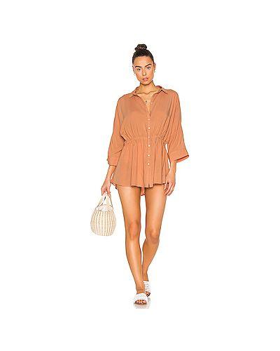 Оранжевое шелковое платье на резинке L*space