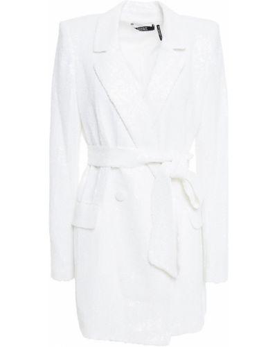 Белый пиджак двубортный с карманами Badgley Mischka