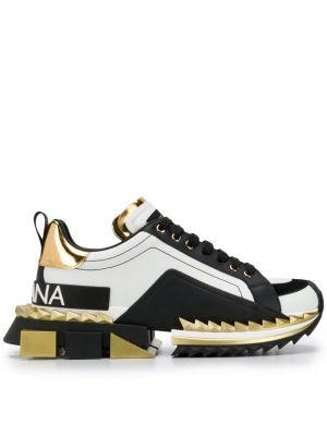 Czarne sneakersy skorzane sznurowane Dolce And Gabbana