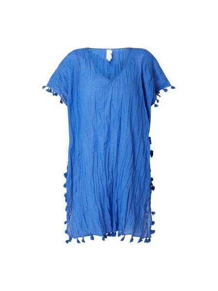 Bawełna niebieski tunika z dekoltem z fałdami Seafolly