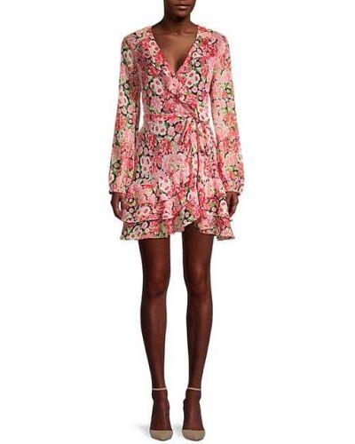 Розовое платье макси с длинными рукавами с подкладкой Bardot