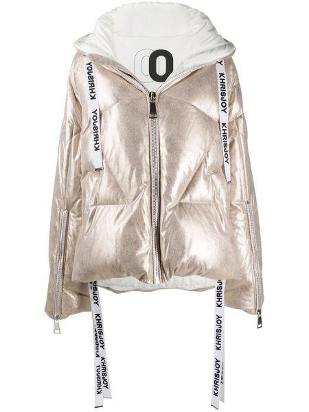 Розовая куртка с капюшоном с декоративной отделкой с манжетами металлическая Khrisjoy