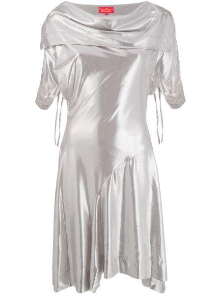 Серебряное приталенное платье мини винтажное с драпировкой Vivienne Westwood Pre-owned