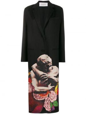 Черное однобортное свободное шерстяное пальто Valentino