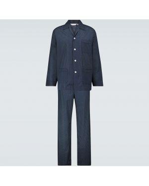 Piżama z koszulą bawełniana zapinane na guziki w grochy Derek Rose