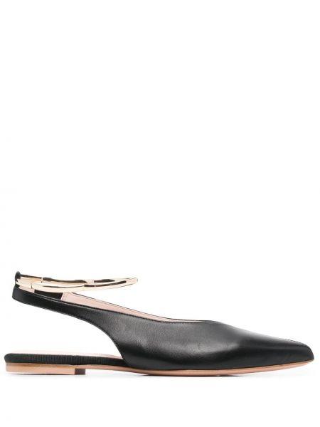 Черные кожаные туфли с острым носом Anna Baiguera