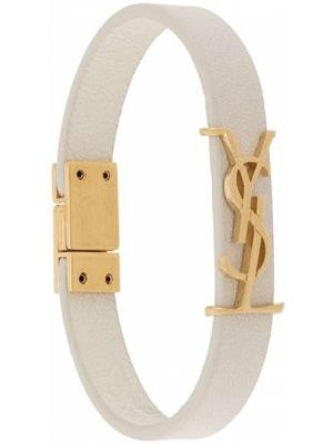 Skórzany bransoletka ze złota biały Saint Laurent