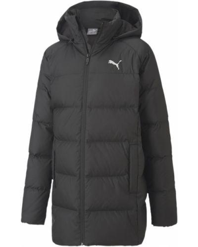 Брендовая черная пуховая длинная куртка Puma