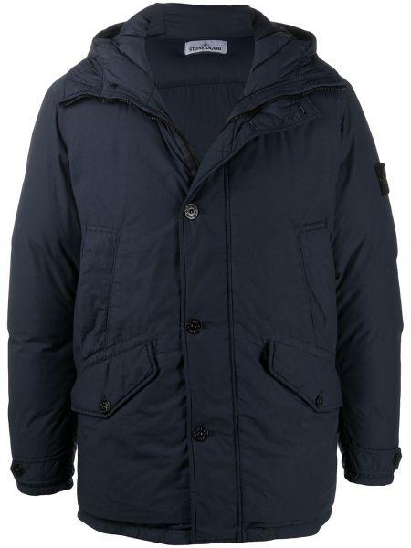 Z rękawami puchaty niebieski długa kurtka z kieszeniami Stone Island