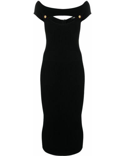 Платье с открытыми плечами - черное Balmain
