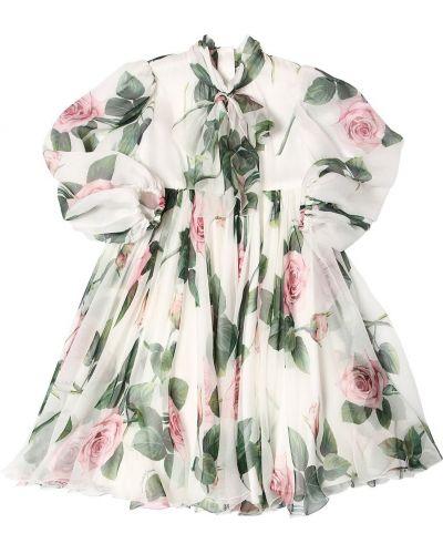 Шифоновое платье макси с длинными рукавами с воротником Dolce & Gabbana