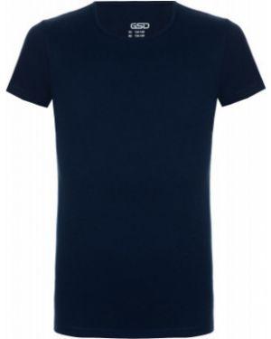 Прямая хлопковая спортивная синяя футболка Gsd