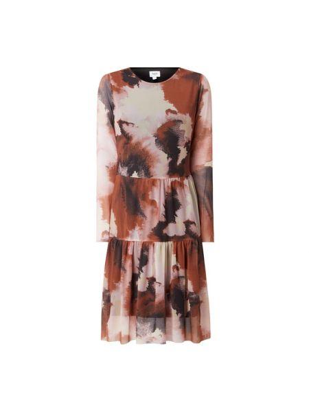 Sukienka rozkloszowana z długimi rękawami - brązowa Saint Tropez