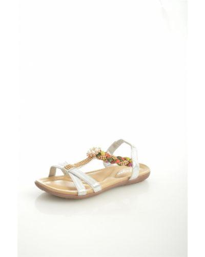 Сандалии на каблуке серебряный Saijun