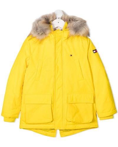 Желтое длинное пальто с капюшоном из искусственного меха Tommy Hilfiger Junior