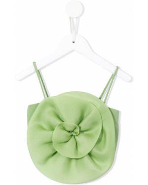 Тонкая шелковая зеленая блуза на бретелях Little Bambah