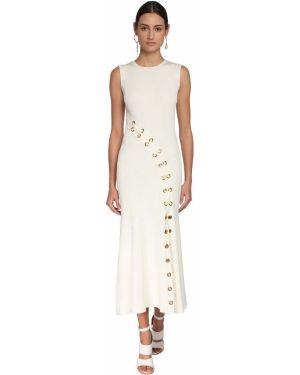 Однобортное вязаное платье макси с декольте без рукавов Alexander Mcqueen