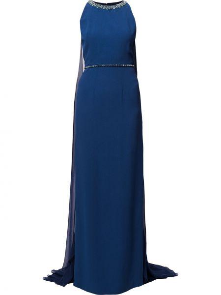 Синее платье макси без рукавов с вырезом Jenny Packham