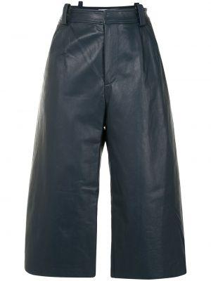 С завышенной талией синие кожаные шорты Christopher Esber