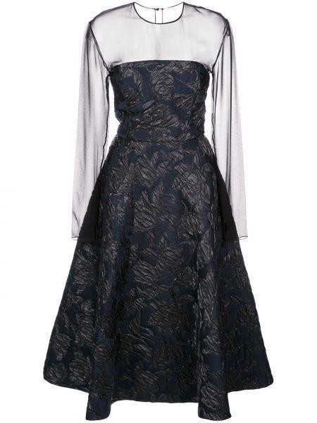 Черное расклешенное платье миди прозрачное с вырезом Jason Wu Collection