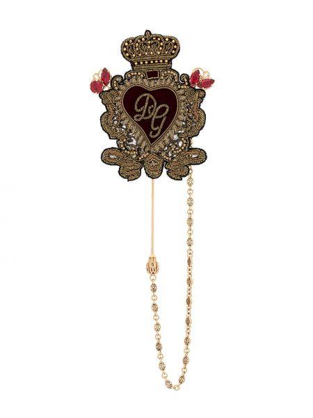 Шелковая брошь золотая с вышивкой Dolce & Gabbana