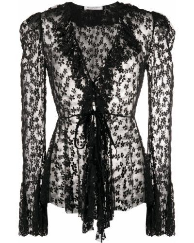 Черная блузка с вышивкой с вырезом Philosophy Di Lorenzo Serafini