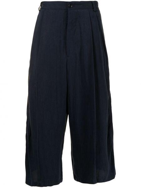 Spodnie z wysokim stanem materiałowe z paskiem Giorgio Armani