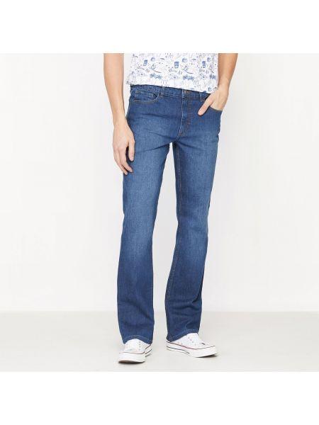 Синие расклешенные джинсы с карманами на пуговицах из вискозы La Redoute Collections