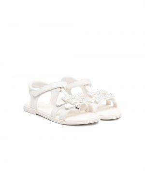 Открытые белые кожаные сандалии Geox Kids