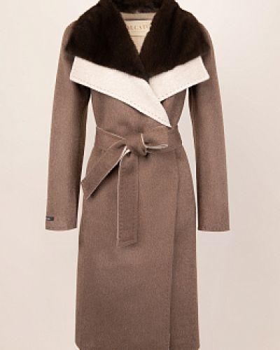 Коричневое шерстяное пальто с воротником Alcato