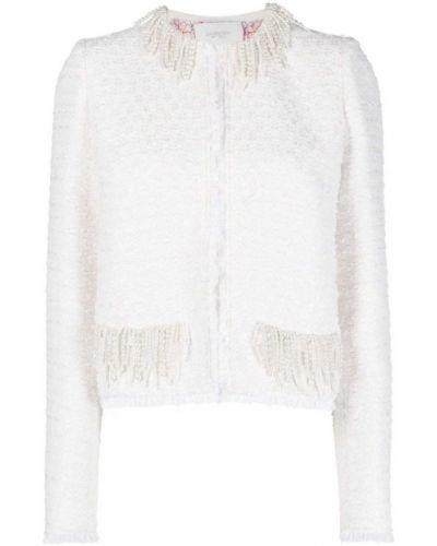 Хлопковый белый удлиненный пиджак с бахромой Giambattista Valli