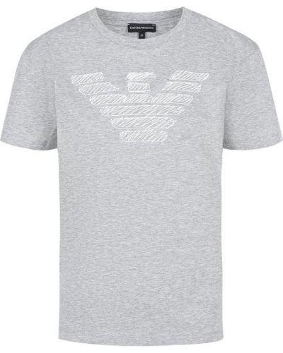 Серая хлопковая футболка с вышивкой Emporio Armani
