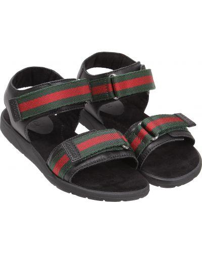 Пляжные черные кожаные сандалии Gucci