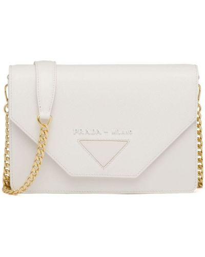 Złota kopertówka - biała Prada