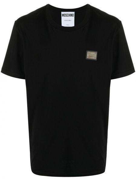 Хлопковая черная футболка с короткими рукавами Moschino