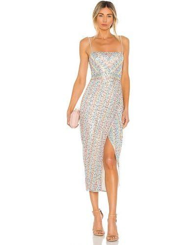 Satynowa sukienka długa z siateczką Saylor